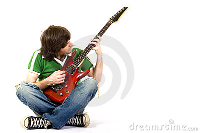 Guitarist playing his guitar