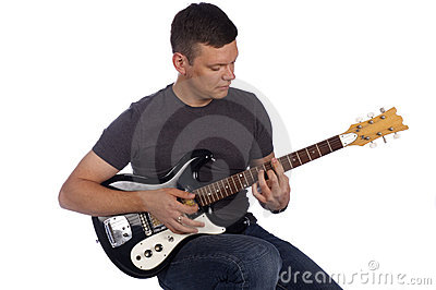 Guitarist playing instrument