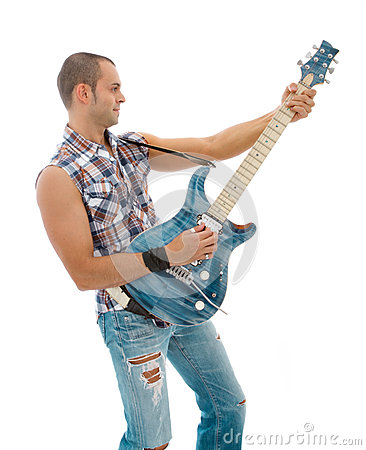 Guitarist playing on white background