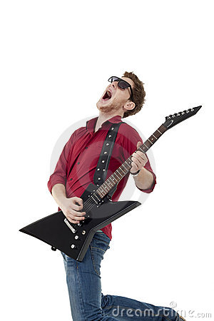 Guitarist screaming and jumping