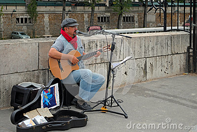 Guitarist on street. Editorial Image
