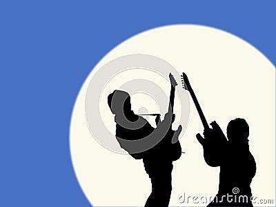 Guitarists in the moonlight