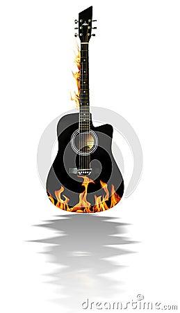 Guitarra acústica negra en el fuego