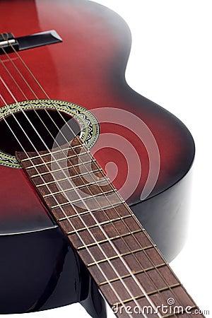 Guitarra clássica preta e vermelha