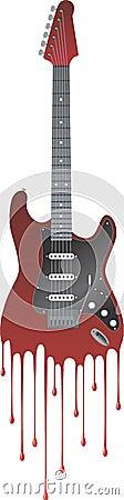 Guitarra con sangre del goteo