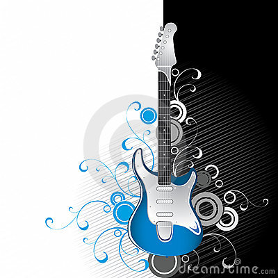 Guitarra em preto e branco