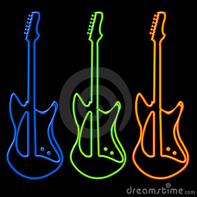Free Guitars In Neon Stock Images - 320534