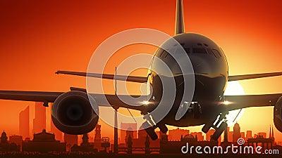 Guld- bakgrund för Berlin Germany Airplane Take Off horisont royaltyfri illustrationer
