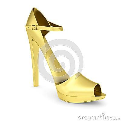Guld- kvinnors sko