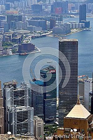 Gulf and city view of Hongkong Victoria harbor Editorial Image