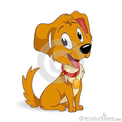 Gullig hundvalp för tecknad film