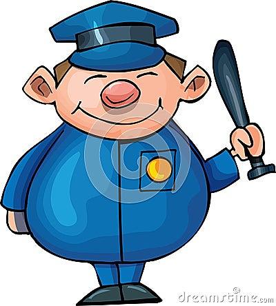Gullig polis för tecknad film