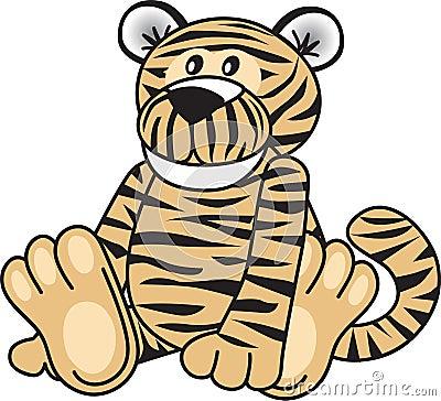 Gullig sittande tiger