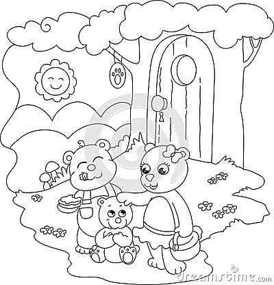 Gulliga färgläggningbjörnar
