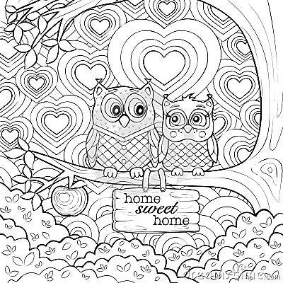 Kleurplaten Rainbow Gulliga Ugglor Art Therapy Coloring Page Vektor