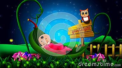 Gulligt behandla som ett barn tecknade filmen som sover på sidavaggan, video bakgrund för den bästa öglan för att vaggvisor ska s royaltyfri illustrationer