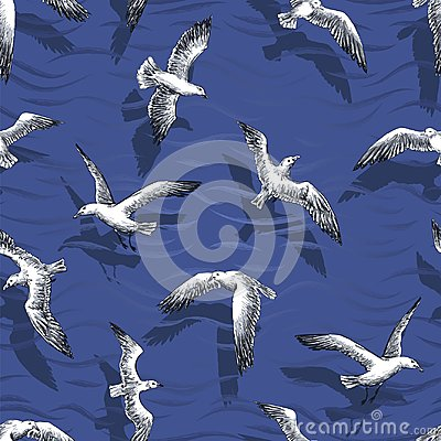 Free Gulls Seamless Pattern Stock Photos - 116971043