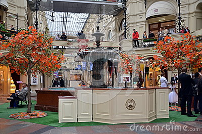 The GUM shopping mall interior in Moscow Editorial Image