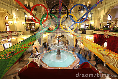 GUM store in Olympic rings on XXII Olympic and X Editorial Photo