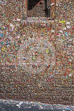 Gum Wall in Seattle Editorial Photography