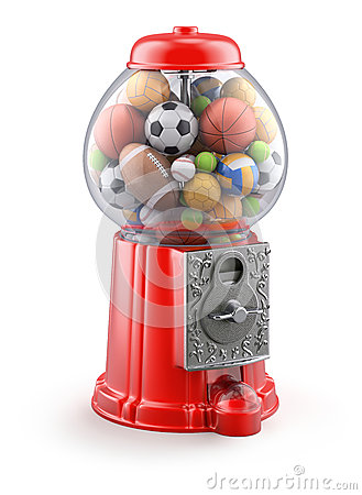 Free Gumball Machine With Sport Balls Stock Image - 32916681