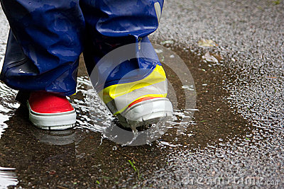 Gumboots and a puddle