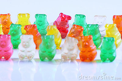 Gummy bears lined up in row Editorial Photo