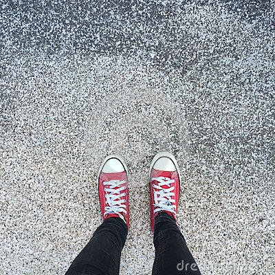 Free Gumshoes On Urban Grunge Background. Image Of Legs In Boots On City Street. Feet Shoes Walking In Outdoor. Youth Selphie Modern Hi Stock Images - 62825044
