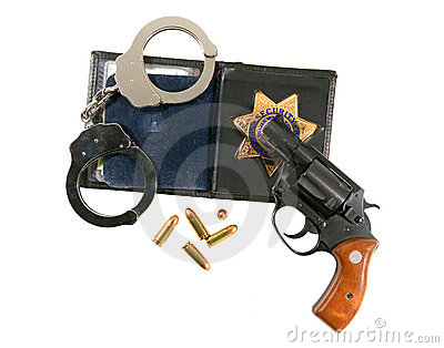 Gun, Badge and Handcuffs