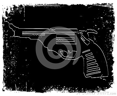 Gun on black grunge background. Vector