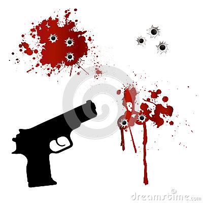 Gun with bullet holes and blood