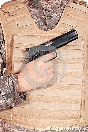 Gun and bulletproof vest