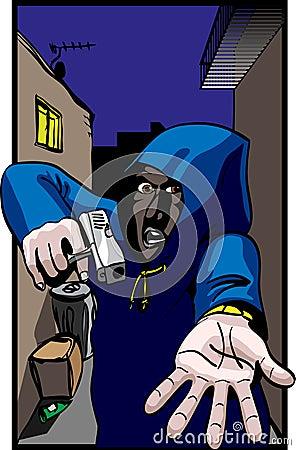 Gun Crime, Hooded mugger in alleyway : Dreamstime