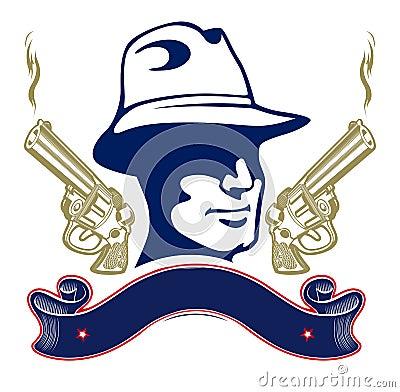 Gun gangster emblem