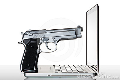 Gun on a laptop