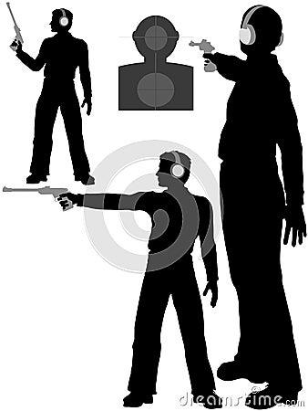 gun man shoot target pistol firing range