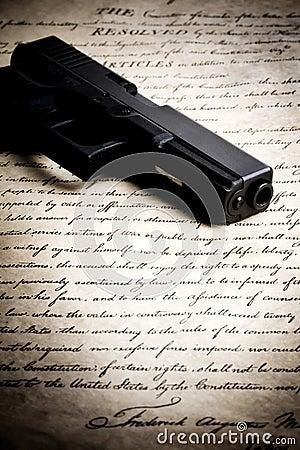 Free Gun On Constitution Royalty Free Stock Image - 8352916