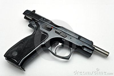 Gun out of ammo on white background