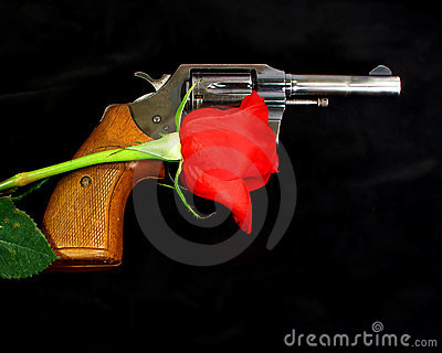 Gun with a red rose