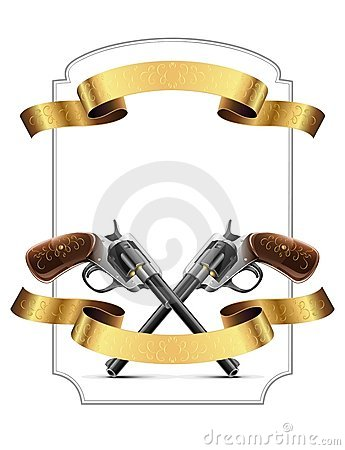 Gun revolver crossed with gold ribbon and frame