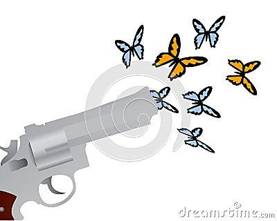 Gun shooting butterflies