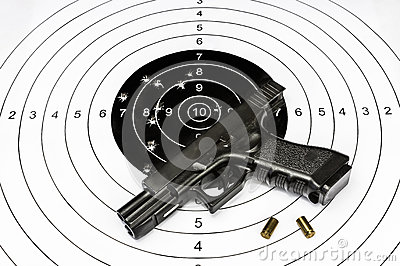 Gun and shooting target