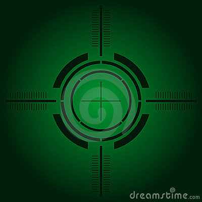 Gun sight over green gradient