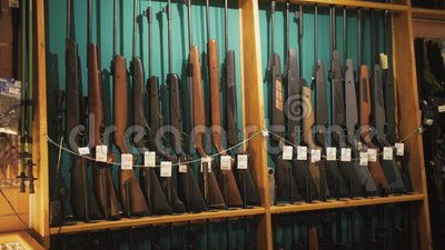 Gun Store Interior With Rifles On Showcase Stock Video Video Of