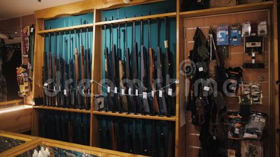 Gun Store Interior With Rifles On Showcase Stock Footage Video Of