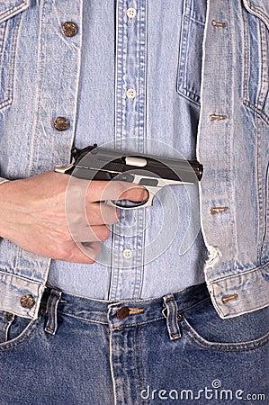 Gun Violence Concept, Handgun, Man With Gun
