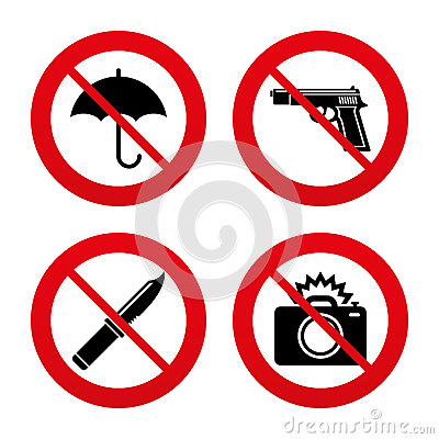 Free Gun Weapon. Knife, Umbrella And Photo Camera Royalty Free Stock Photo - 54023475