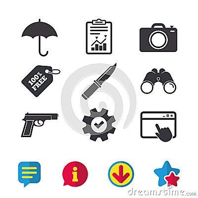 Free Gun Weapon. Knife, Umbrella And Photo Camera. Royalty Free Stock Photos - 96740688