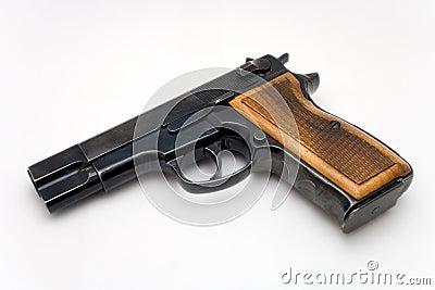 Gun with wood grip on white background