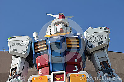 Gundam Statue in Odaiba, Japan Editorial Stock Photo